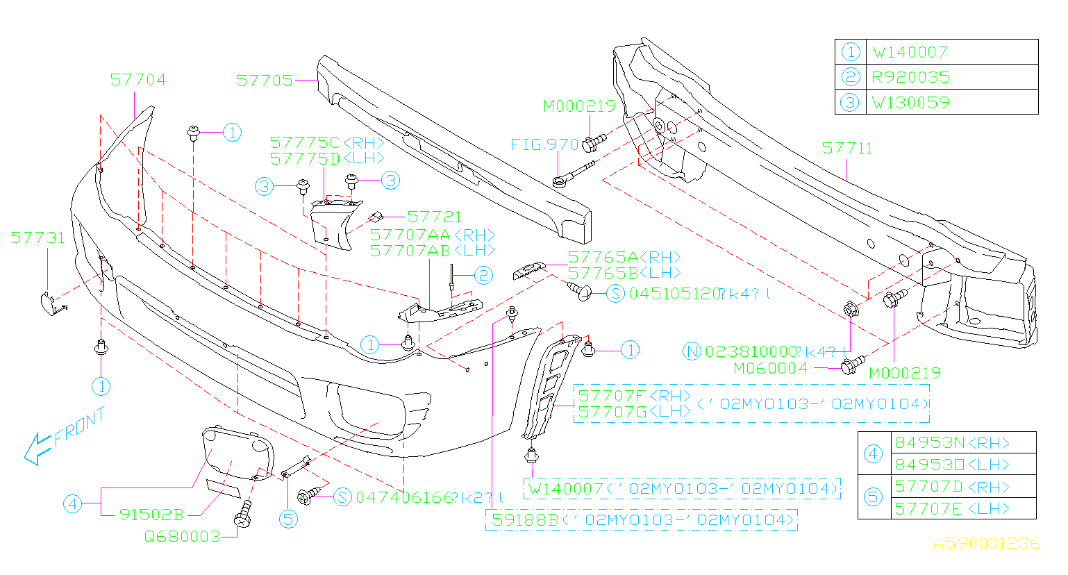 Diagram FRONT BUMPER. '02MY-'03MY. for your 2001 Subaru Legacy