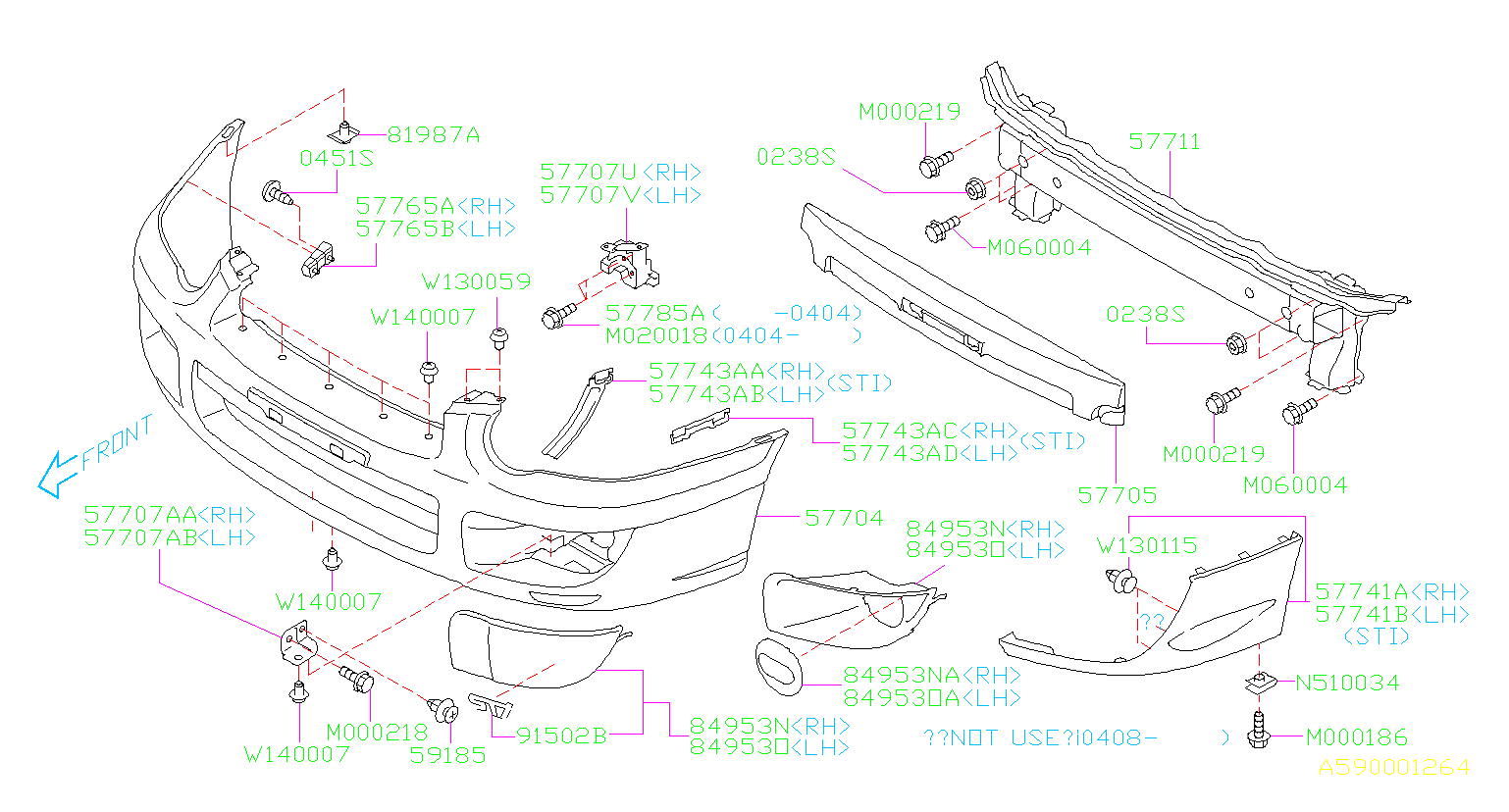 Diagram FRONT BUMPER. '04MY-'05MY. for your 2001 Subaru Legacy